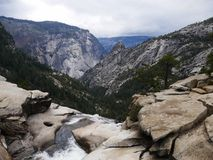 Final view on the top of Nevada falls in Yosemite national park Stock Photos