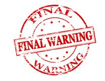 Final warning. Rubber stamp with text final warning inside,  illustration Stock Images