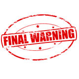 Final warning. Rubber stamp with text final warning inside,  illustration Royalty Free Stock Photos