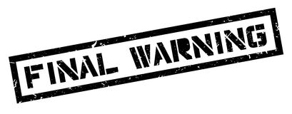 Final Warning rubber stamp. On white. Print, impress, overprint Stock Images