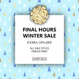 Final Winter Sale banner. Vector winter season sale banner template. Christmas seamless triangle pattern. Social media product promotion web banner Stock Photos