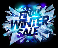 Final winter sale design with pieces of ice. Royalty Free Stock Images