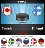 Final of the world championship hockey background with black puck Royalty Free Stock Photography
