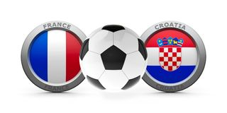 Final World Cup 2018 - France vs. Croatia. Emblems - Flags of France and Croatia with football - isolated on white, represents final World Cup 2018, three Royalty Free Stock Image
