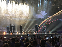 Finale d'Eurovision 2017 sur l'étape de l'Exhib international Photographie stock
