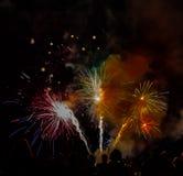 Finale grande de feux d'artifice crépusculaires d'exposition d'Abbotsford Airshow images stock