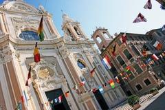 Finale Ligure. Perspective on San Giovanni Battista Basilica in Finale Ligure , Savona Italy Royalty Free Stock Photo