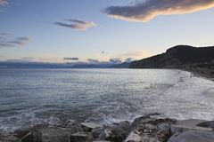 Finale Ligure. The Ligurian town and beaches of Finale Ligure, near Savona, northern Italy Stock Images