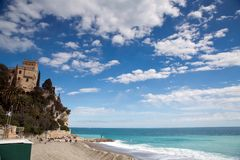 Finale Ligure. The Ligurian town and beaches of Finale Ligure, near Savona, northern Italy Royalty Free Stock Photo