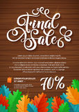 FINALE SALE Hand lettering Design Template. Typography Vector Background. Handmade calligraphy Autumn Poster Stock Images