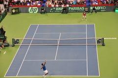 Finales de Coupe Davis 2010, première allumette Photos stock