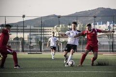 Finali quarti della tazza della roccia di Gibilterra - calcio - punto di europa di europa 2-0 Fotografia Stock Libera da Diritti