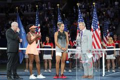 Finalist Madison Keys R and US Open 2017 champion Sloane Stephens during trophy presentation after women`s final match Royalty Free Stock Images