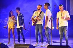 The finalist of the TV show X Factor 2017 preforming at Israel 70 Independence Day. The finalist of the TV show X Factor 2017: Eden Alena ,Guy Yahood, Yam royalty free stock image