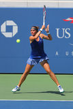 Finaliste junior de filles de l'US Open 2014 Anhelina Kalinina d'Ukraine pendant le match final chez Billie Jean King National Te Photographie stock libre de droits