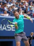 Finaliste Michael Venus de doubles mélangés de l'US Open 2017 du Nouvelle-Zélande dans l'action pendant le match final Images stock