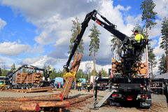 Finalists Compete in Finnish Log Loading Championships Royalty Free Stock Photo
