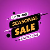 Finall sale banner. Violet background. Square seasonal sale banner. Best for social media and web site ad Royalty Free Stock Images