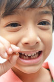 Finally first baby teeth out toothless boy smile Royalty Free Stock Image