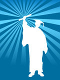 Finally graduation day background. Vector illustration of graduate college student as silhouette with the diploma certificate in his hand, with beams background Stock Image