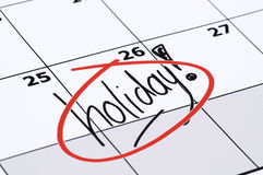 Finally Holiday. It is finally holiday! Marked and written holiday in a calendar Royalty Free Stock Image