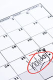 Finally Holiday. It is finally holiday! Marked and written holiday in a calendar Stock Images