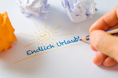 It is finally holiday! - Endlich Urlaub! Stock Image