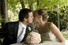 ...and finally I can kiss you. A kiss full of love Royalty Free Stock Photos