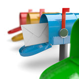 Finally Mail Arrived. Colorful Mail Boxes on White Background 3D Illustration Royalty Free Stock Photos