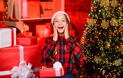 Free Finally New Year. Teen Girl Celebrate Christmas. Cherished Dreams Concept. Happy Kid With Gift Christmas Tree. Childhood Royalty Free Stock Images - 164117779