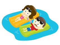 Finally relaxing. Illustration of a couple relaxing on beach mattresses Royalty Free Stock Photos