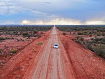 Dirtroad driving in the australian outback royalty free stock image