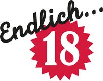 Finally 18 - 18th birthday german. Vector Stock Photography