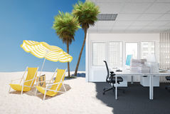 Finally vacations. 3d rendering. 3d rendering. vacations are coming and office is out Stock Photos