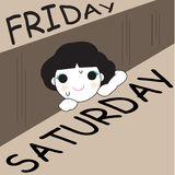 Finally Weekend Character illustration Stock Image