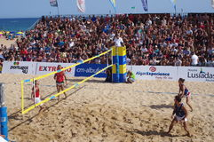 Finals of European Footvolley Championship game Royalty Free Stock Photo