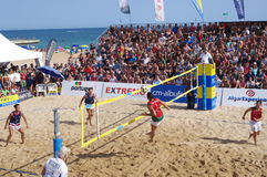 Finals of European Footvolley Championship game Royalty Free Stock Image