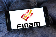 Finam Holdings logo. Logo of Finam Holdings on samsung mobile. Finam Holdings is a financial services company headquartered in Moscow, Russia. It is the parent Royalty Free Stock Photos