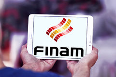 Finam Holdings logo. Logo of Finam Holdings on samsung tablet. Finam Holdings is a financial services company headquartered in Moscow, Russia. It is the parent Stock Photo