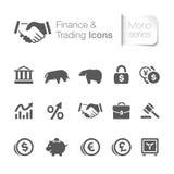 Finança & ícones relacionados de troca Foto de Stock Royalty Free