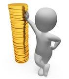 A finança do caráter indica figuras dinheiro e riqueza 3d Renderin Imagem de Stock