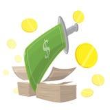 Finança do corte do dinheiro da espada Ilustração Royalty Free