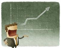 Finança do homem de negócios e do gráfico ilustração royalty free