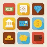 Finança lisa e ícones esquadrados operação bancária do App ajustados Fotografia de Stock Royalty Free