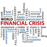 Finanacial crisis word cloud concept. Word cloud of financial crisis concept on white. Vector. eps available Royalty Free Stock Images