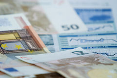 Financail information. European money on the financial part of a newspaper stock image