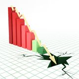 Financal bar graph going down. Bar graph and moving down arrow. 3d rendered illustration Stock Images