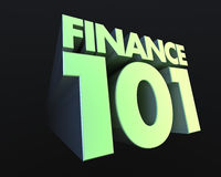 Finance 101. 3D, green text zooming forward announcing Finance 101 Royalty Free Stock Photo