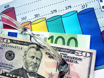 Finance. Money laying on the table of an exchange rate of currency Royalty Free Stock Photography