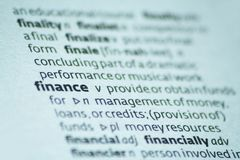 Finance. Close up of the dictionary definition of finance Royalty Free Stock Images